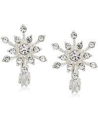 Napier - Clip Earrings Glass Snowflake Clip, Silver - Lyst