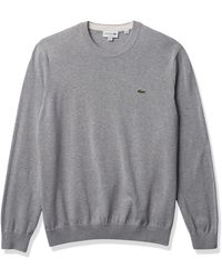 Lacoste Long Sleeve Crewneck Cotton Jersey Sweater - Gray