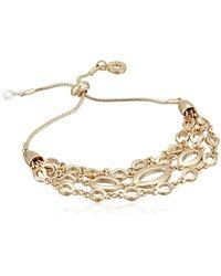 Anne Klein - Gold Tone Slider Bracelet, Size: 0 - Lyst