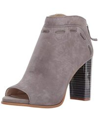 21f9171a979 Lyst - Nine West Pinnow Suede Open Toe Bootie in Natural