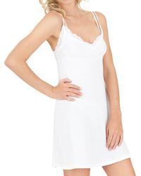 Only Hearts Organic Cotton Lace Trimmed Chemise - White