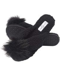 Jessica Simpson Fluffy Pom Pom Thong House Slide On Slippers With Memory Foam - Black