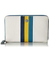 Anne Klein Stripe Zip Around Wallet - Blue