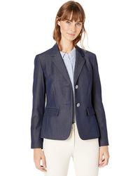 Nine West 2 Button Notch Collar Jacket - Blue