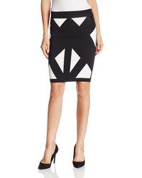 BCBGMAXAZRIA Natalee Geometric Jacquard Pencil Skirt - Black