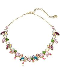 "Betsey Johnson Mixed Stone Collar Necklace, 16"" + 3.5"" Extemder - Multicolor"