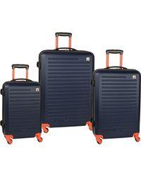 Nautica 3 Piece Hardside 4-wheeled Luggage Set - Blue