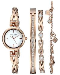 Anne Klein - Swarovski Crystal Accented Rose Gold-tone Watch And Bracelet Set - Lyst