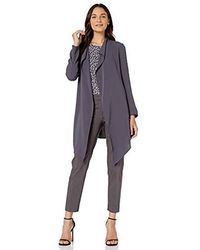 Anne Klein Drape Front Long Jacket - Gray