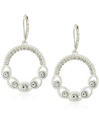 Napier - Silver-tone And Crystal Circle Drop Earrings - Lyst