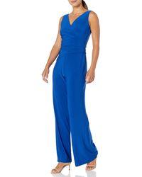 Nine West Sleeveless Jumpsuit With Asymetrical Bodice - Blue
