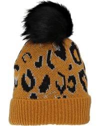 BCBGeneration Leopard Beanie With Faux Fur Pom - Multicolor