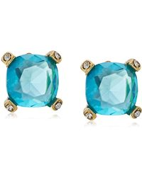 Badgley Mischka S Prong Cushion Aqua Gold Tone Stud Earrings - Metallic