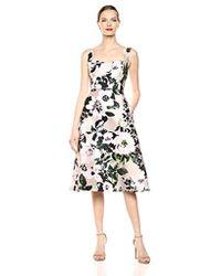 Adrianna Papell Floral Tea Length Dress - Multicolor