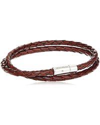 Tateossian Silver Tobacco Scoubidou Double L 41cm Bracelet - Brown