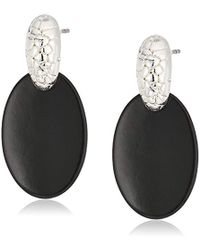 Napier - Silver-tone And Jet Drop Earrings - Lyst