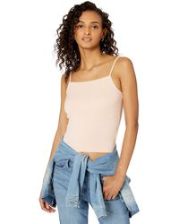 The Drop Cara Square Neck Cropped Strappy Tank Top - Blue