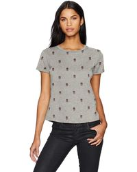 Lucky Brand All Over Embroidered Tee - Gray