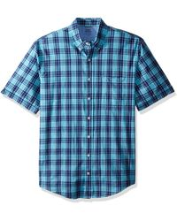 Izod Big Saltwater Dockside Chambray Short Sleeve Button Down Plaid Shirt - Blue