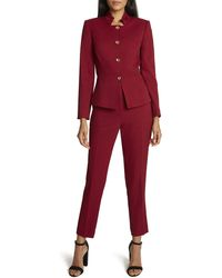 Tahari Stand Collar Jacket And Ankle Pant Set - Red