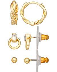 Napier 3 Piece Hoop And Stud Earring Set - Metallic