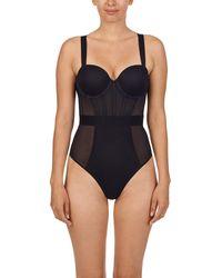 DKNY Sheers Strapless Bodysuit - Black