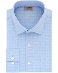 Kenneth Cole Reaction Dress Shirt Extra Slim Fit Stretch Stay-crisp Collar Check - Blue