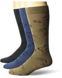 Wrangler Ladies Horse Boot Socks 3 Pair Pack - Blue