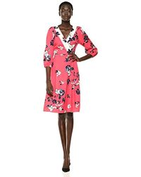 67091e30684 Adrianna Papell - Plus Size Floral Print Surplice V-neck Balloon Sleeve A- line