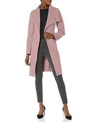 T Tahari Double Face Wool Wrap Coat With Optional Self Tie Belt - Pink