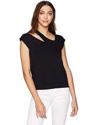 Bailey 44 Monsoon Short Sleeve Cutout Sweatshirt - Black