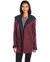 Vero Moda - Tania Sweater Coatigan With Shearling Lining And Collar - Lyst