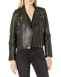 Lucky Brand Pebble Leather Moto Jacket - Black