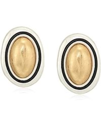 The Sak - Large Stone Stud Earrings, Color Two Tone Silver - Lyst
