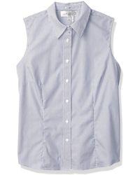 Kasper Easy Care Oxford Fitted Sleeveless Shirt - Blue