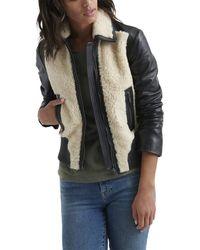 Lucky Brand Sherpa Leather Jacket - Black