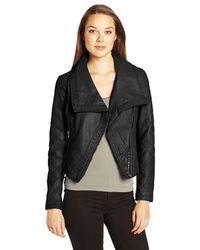 Buffalo David Bitton Odelia Faux Leather Zip Up Jacket - Black