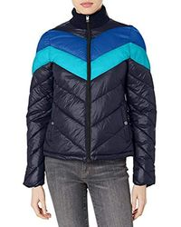 Marc New York Colorblock Chevron Jacket With Sweater Collar - Blue