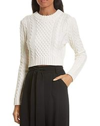 MILLY - Cropped Aran Stitch Sweater - Lyst