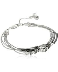 """Kenneth Cole - Pave Mixed Two-tone Bead Multi-row Bracelet, 7"""" + 2"""" Extender - Lyst"""