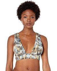 BCBGMAXAZRIA Shirred Skimpy Tall Triangle Crossback Bikini Top - Multicolor