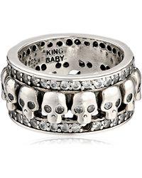 King Baby Studio Wide Band With Skulls And Cubic Zirconia Ring - Metallic