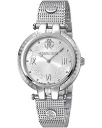 Roberto Cavalli Classic Quartz Silver Dial Ladies Watch - Metallic