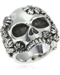 King Baby Studio Unisex Sakura Large Skull Ring - Metallic