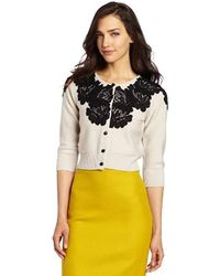Tracy Reese Lace Applique Cardigan - White