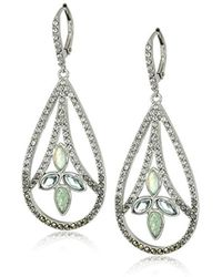 Judith Jack - Sterling Silver And Green Leverback With Swarovski Marcasite Drop Earrings - Lyst