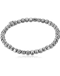 Tateossian - Silver Gunmetal-plated Plain 5mm Cube Bead Elasticated Medium Bracelet - Lyst