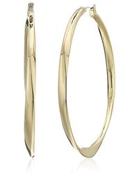 Kenneth Cole - Sculptural Twist Large Hoop Earrings, Shiny Gold, One Size - Lyst