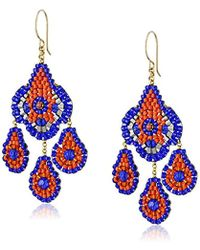 Miguel Ases - Blue Hydro-quartz And Orange Miyuki Bead Small Chandelier Earrings - Lyst