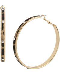 Jessica Simpson Stone Leopard Hoop Earrings - Metallic